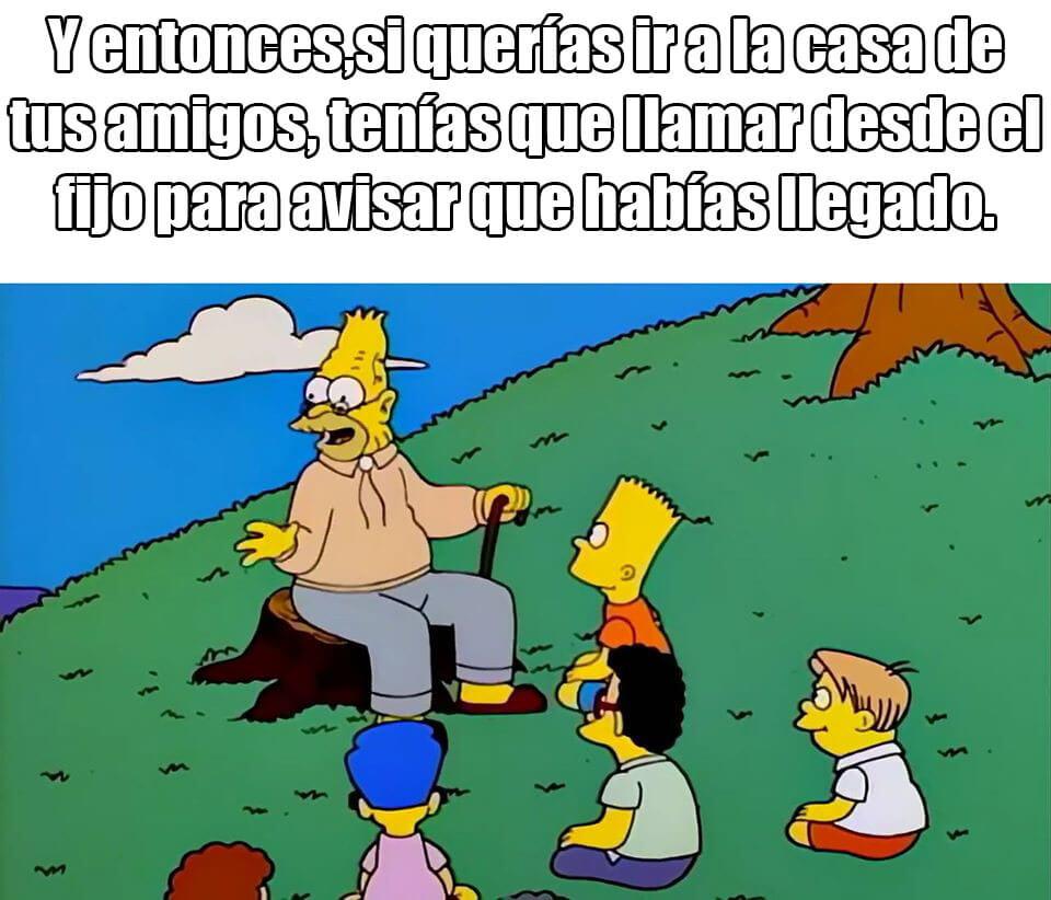 Ir a la pagina de la plantilla Abuelo de Bart contando cosas del pasado.