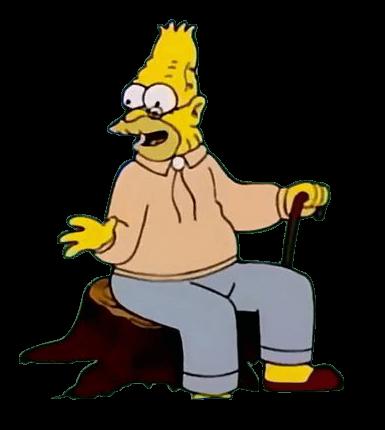 Plantilla de Abuelo de Bart contando cosas del pasado