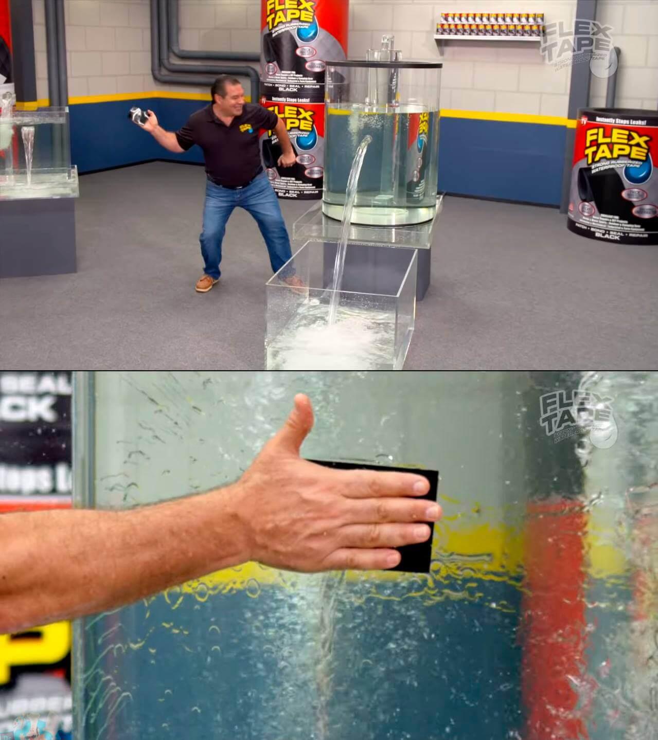 Ir a la pagina de la plantilla Agua saliendo de un tubo | Hombre poniéndole un parche.
