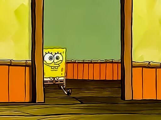 Plantilla de Bob Esponja entrando por la puerta al salon