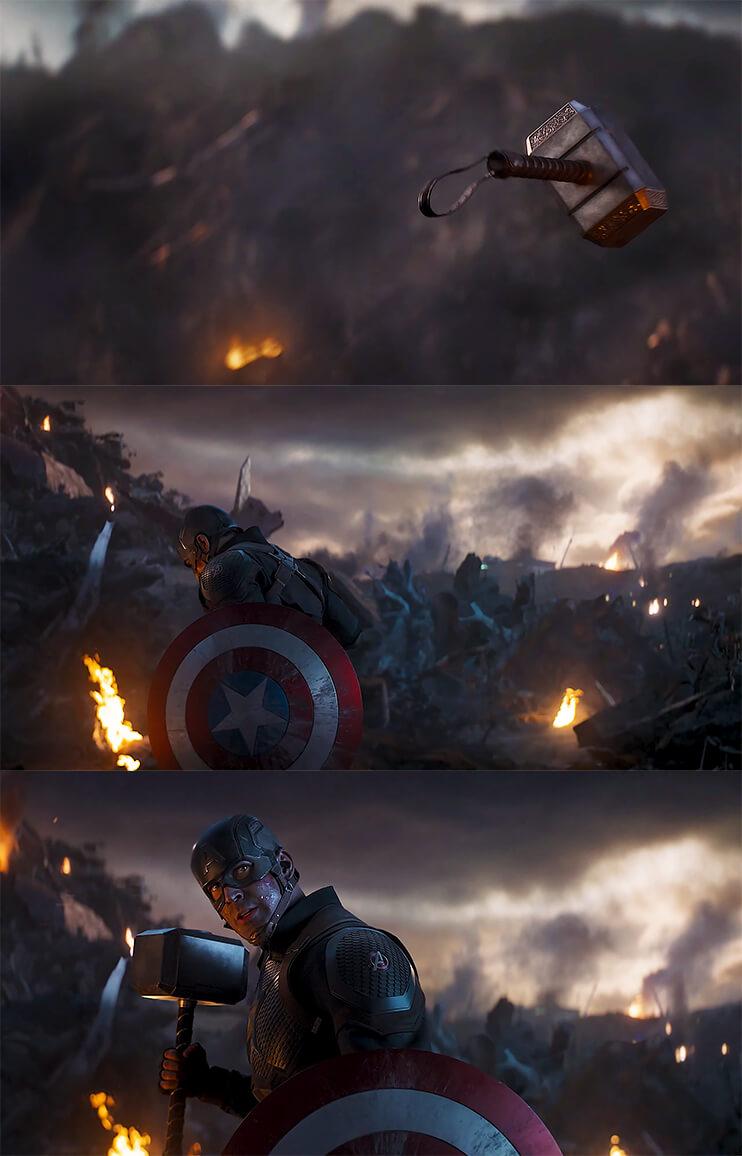 Ir a la pagina de la plantilla Capitán América agarra el martillo de Thor   Secuencia.