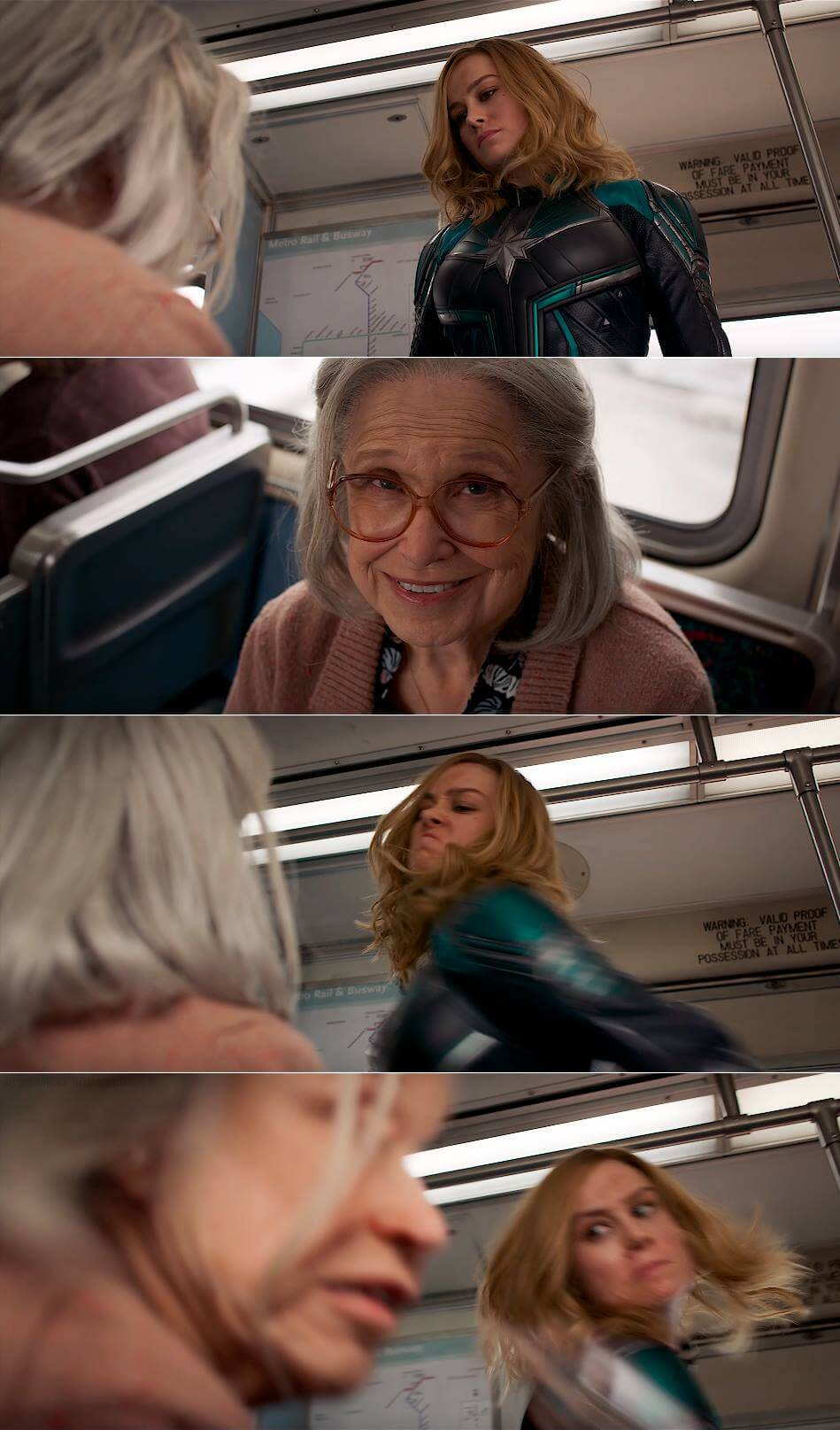 Ir a la pagina de la plantilla Captain Marvel golpeando a una abuela.