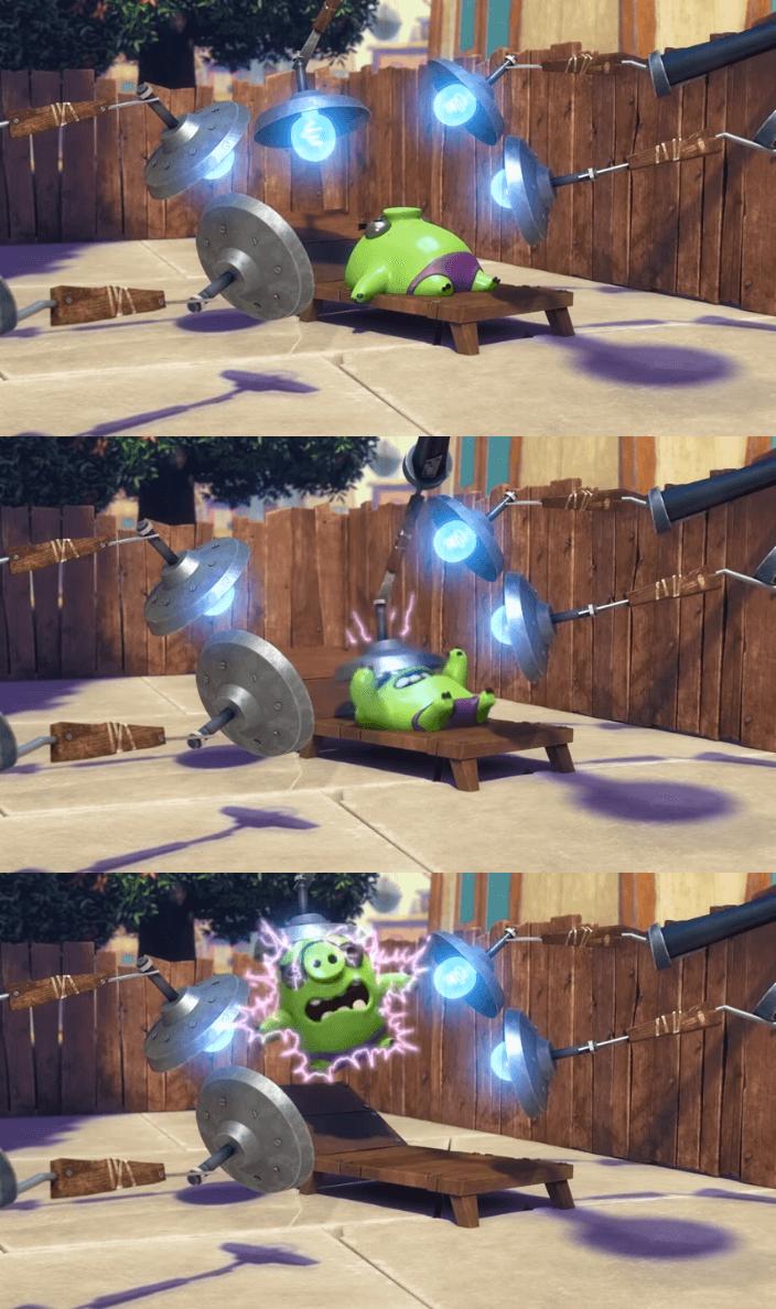 Ir a la pagina de la plantilla Cerdo verde tomando sol y siendo electrocutado por un poste de luz.