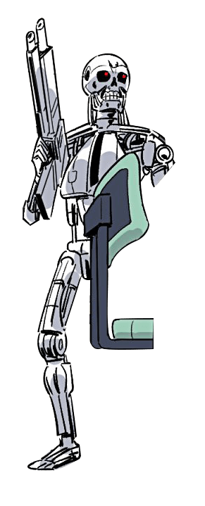 Plantilla de Chica anime escondiéndose de Terminator