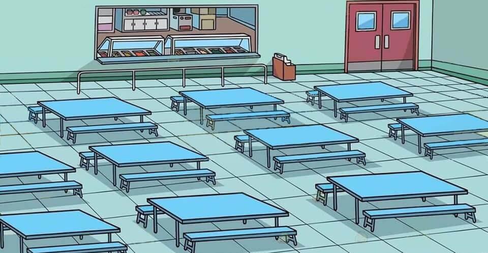 Ir a la pagina de la plantilla Comedor con varias mesas azules.