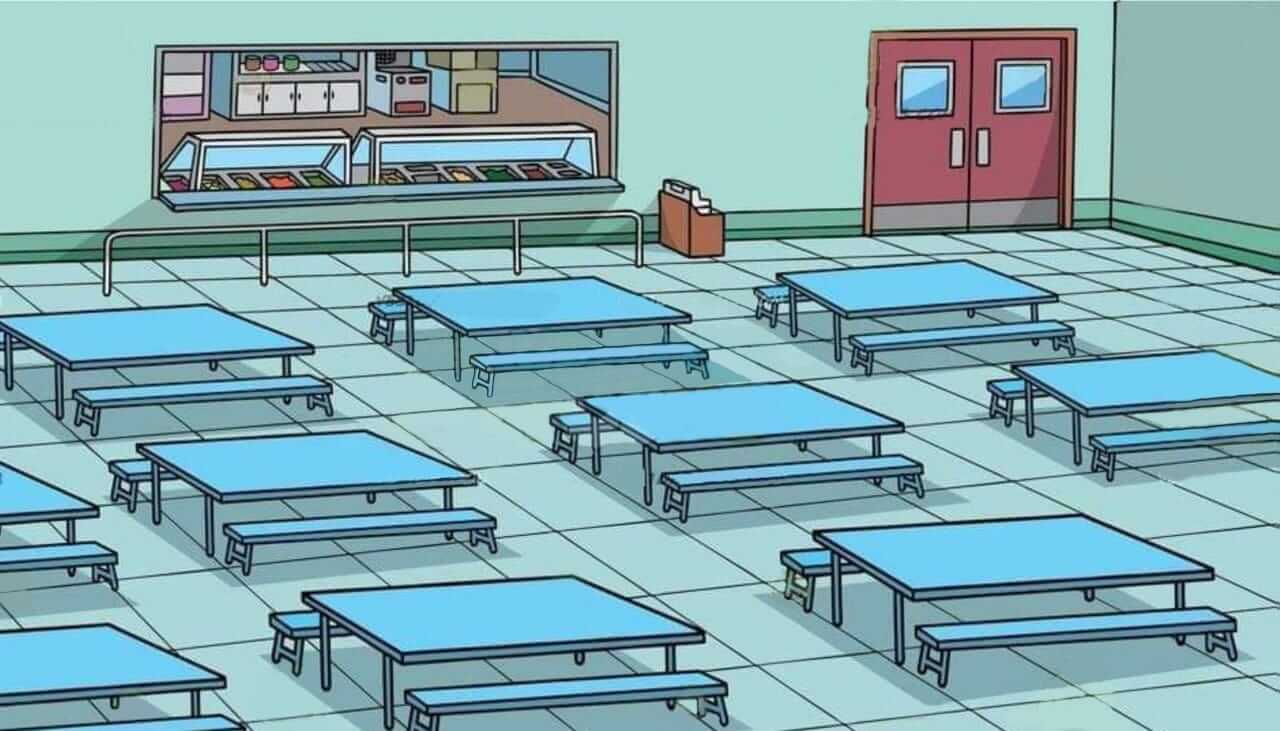 Plantilla de Comedor con varias mesas azules