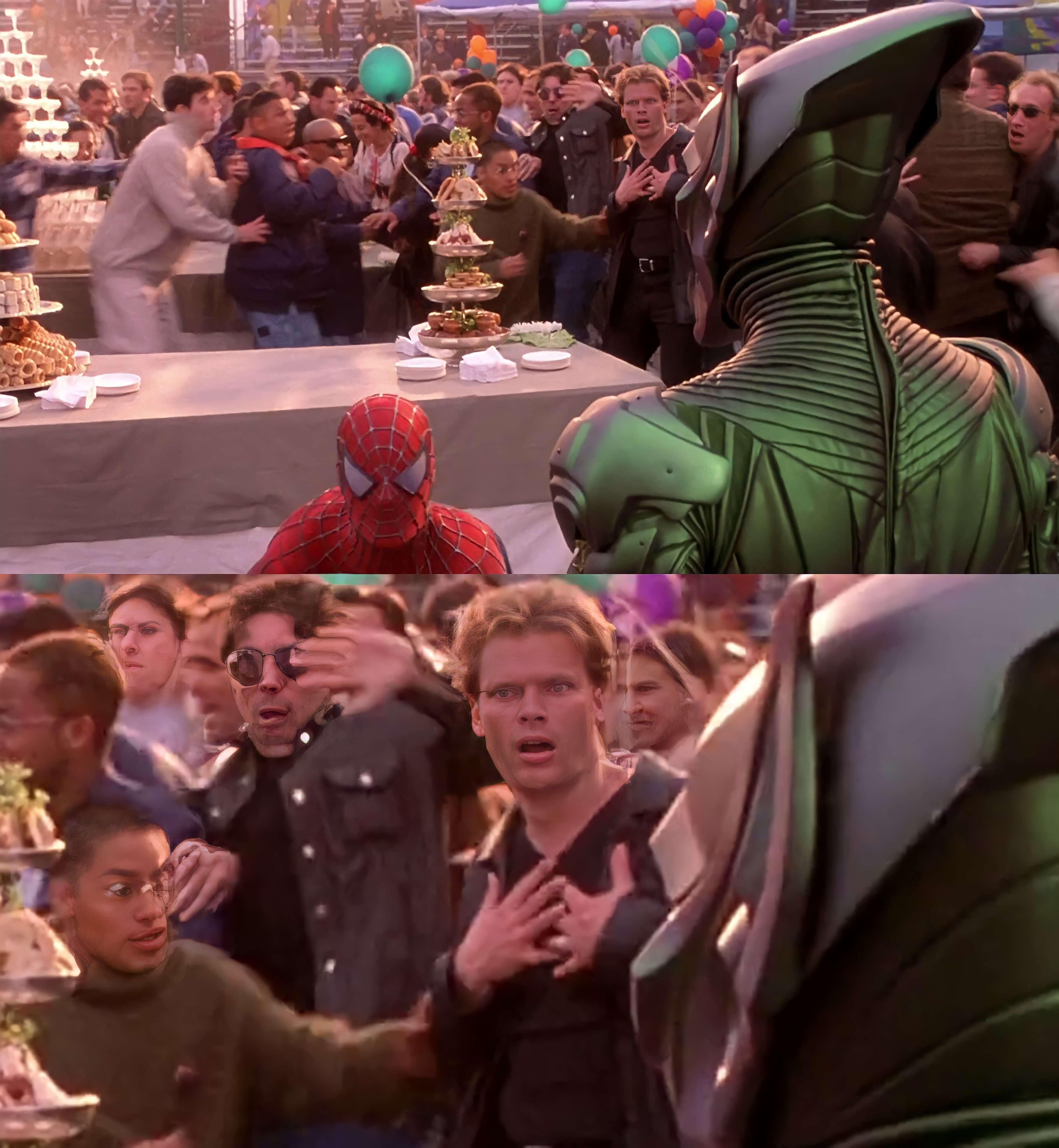 Ir a la pagina de la plantilla Duende Verde y Spider-Man | Hombre de fondo asustado.