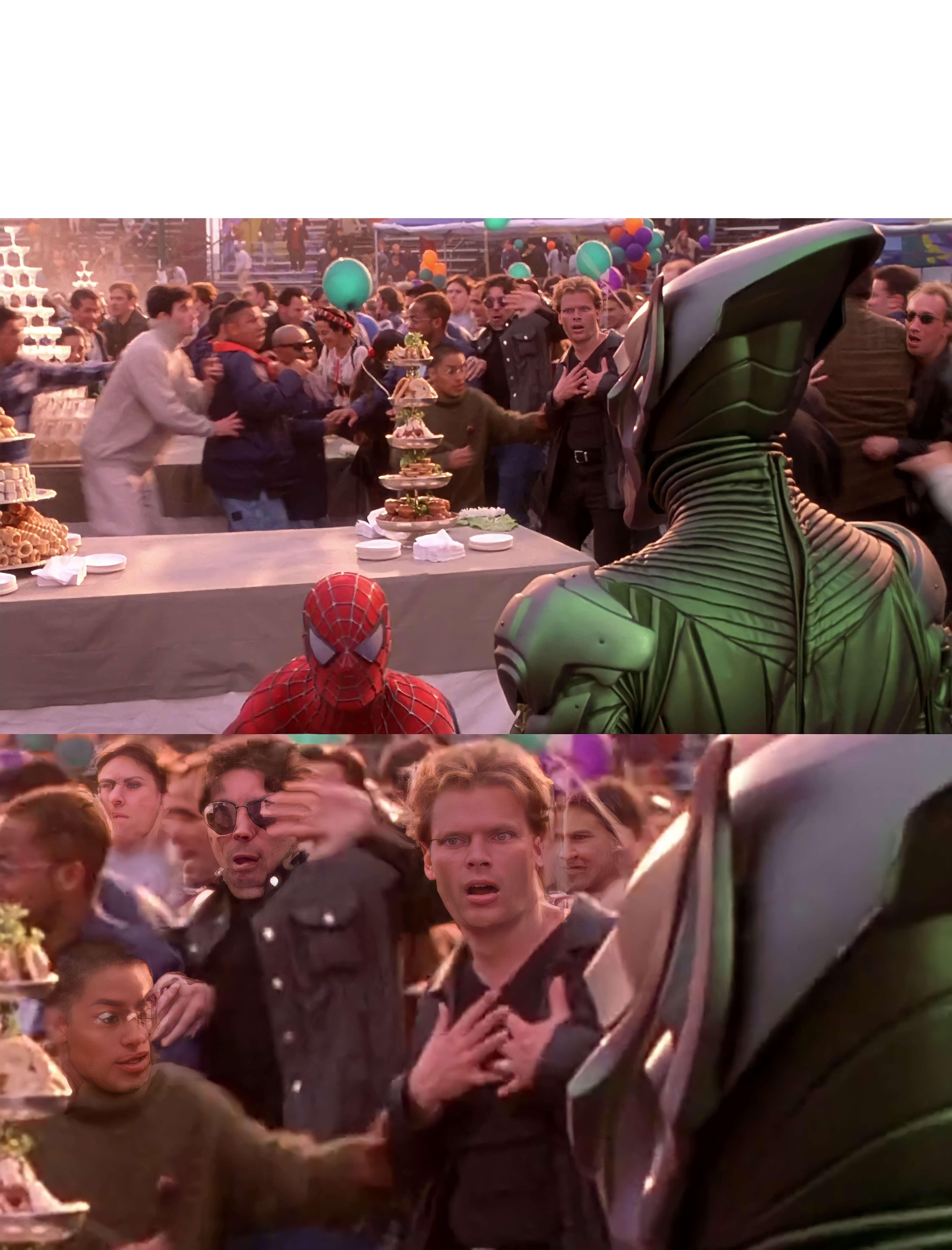Plantilla de Duende Verde y Spider-Man | Hombre de fondo asustado