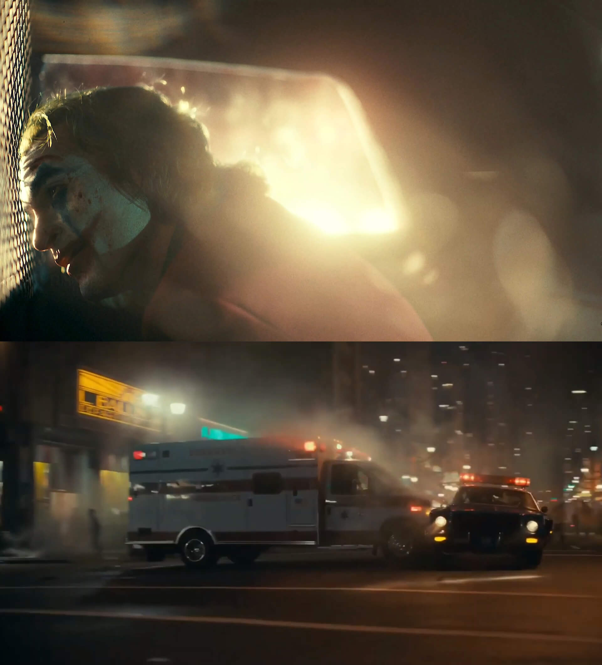 Ir a la pagina de la plantilla El Joker en un coche de policía | Choca una ambulancia.