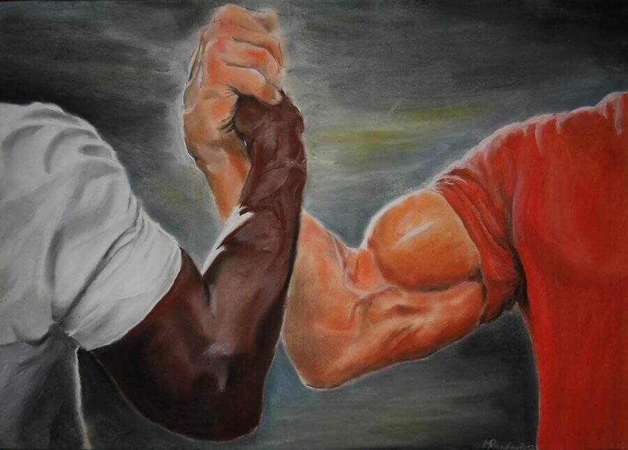 Plantilla de Hombres musculosos apretándose las manos