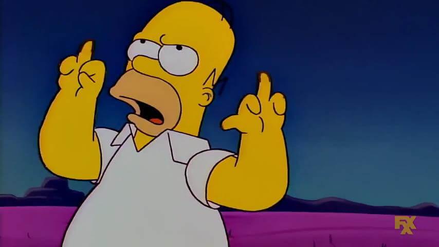 Plantilla de Homero mostrando el dedo medio