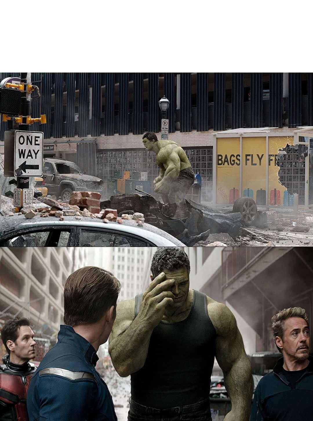 Plantilla de Hulk avergonzándose de su pasado