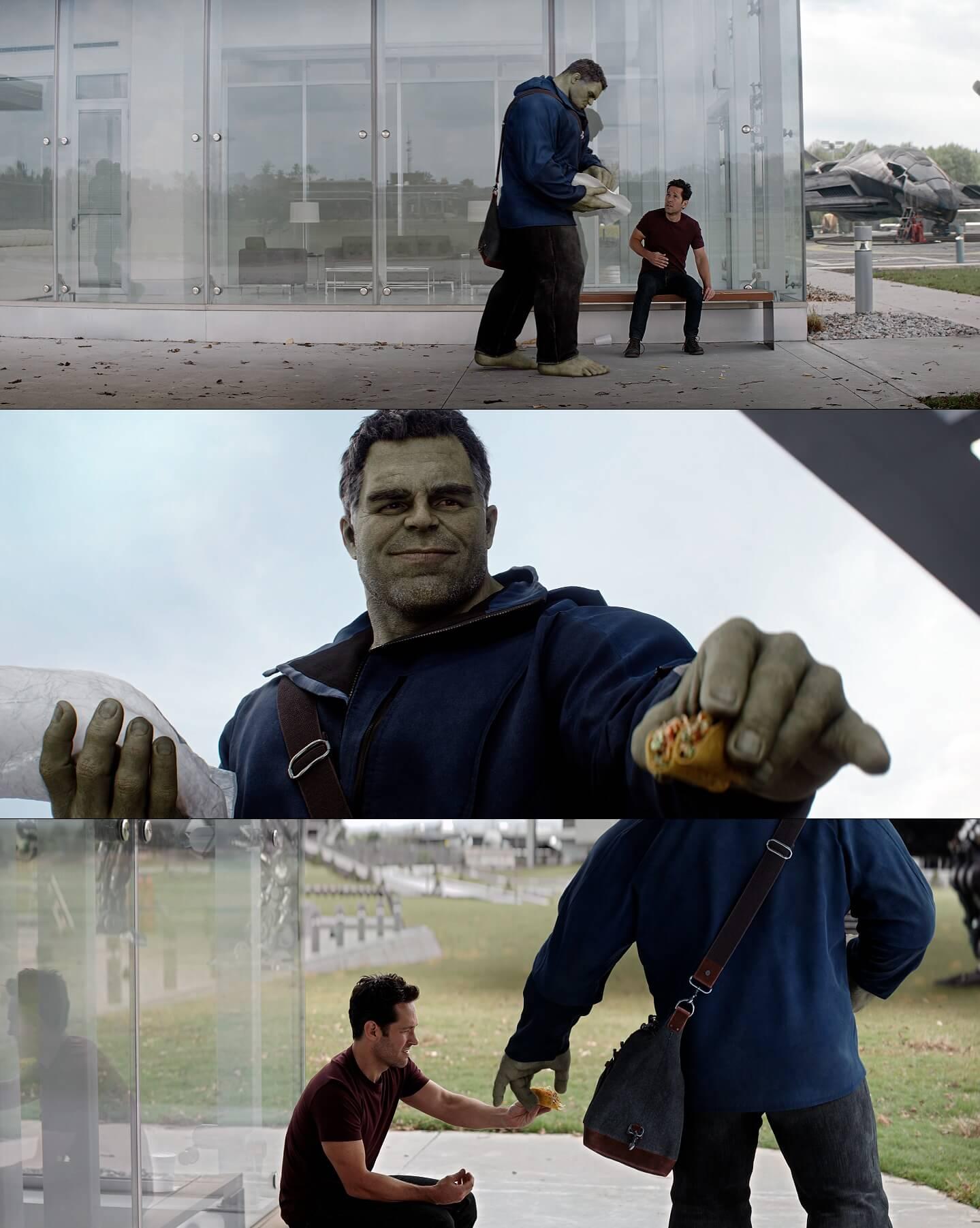 Plantilla de Hulk ofreciéndole taco a Ant-Man