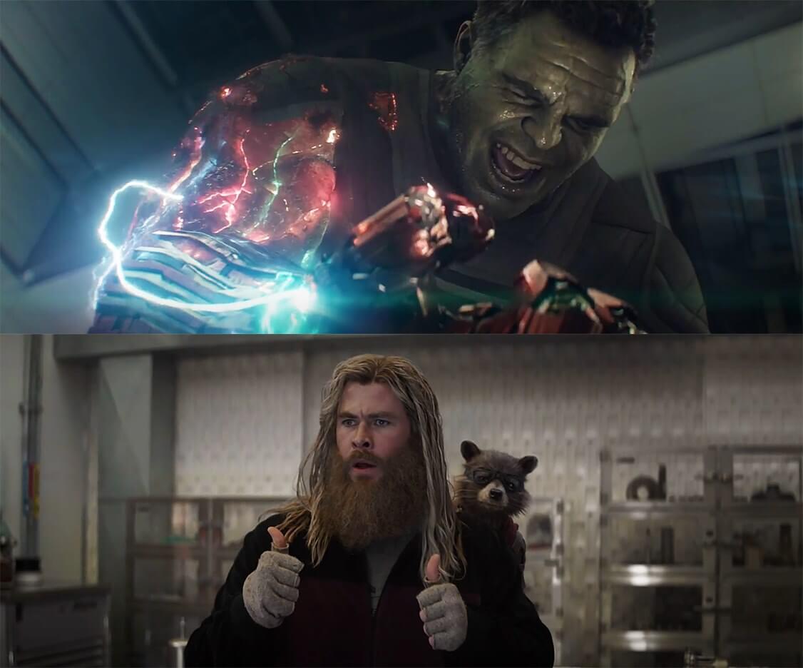 Ir a la pagina de la plantilla Hulk usando el guantelete   Thor apoyandolo.