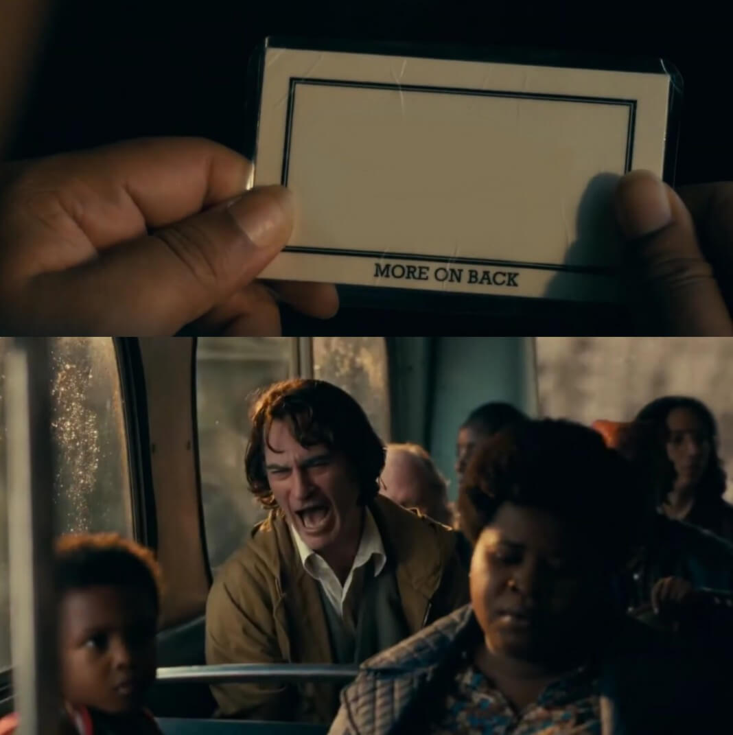 Plantilla de Joker riendo en el autobus