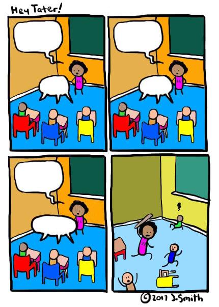 Ir a la pagina de la plantilla Maestra pegando niños en clase.