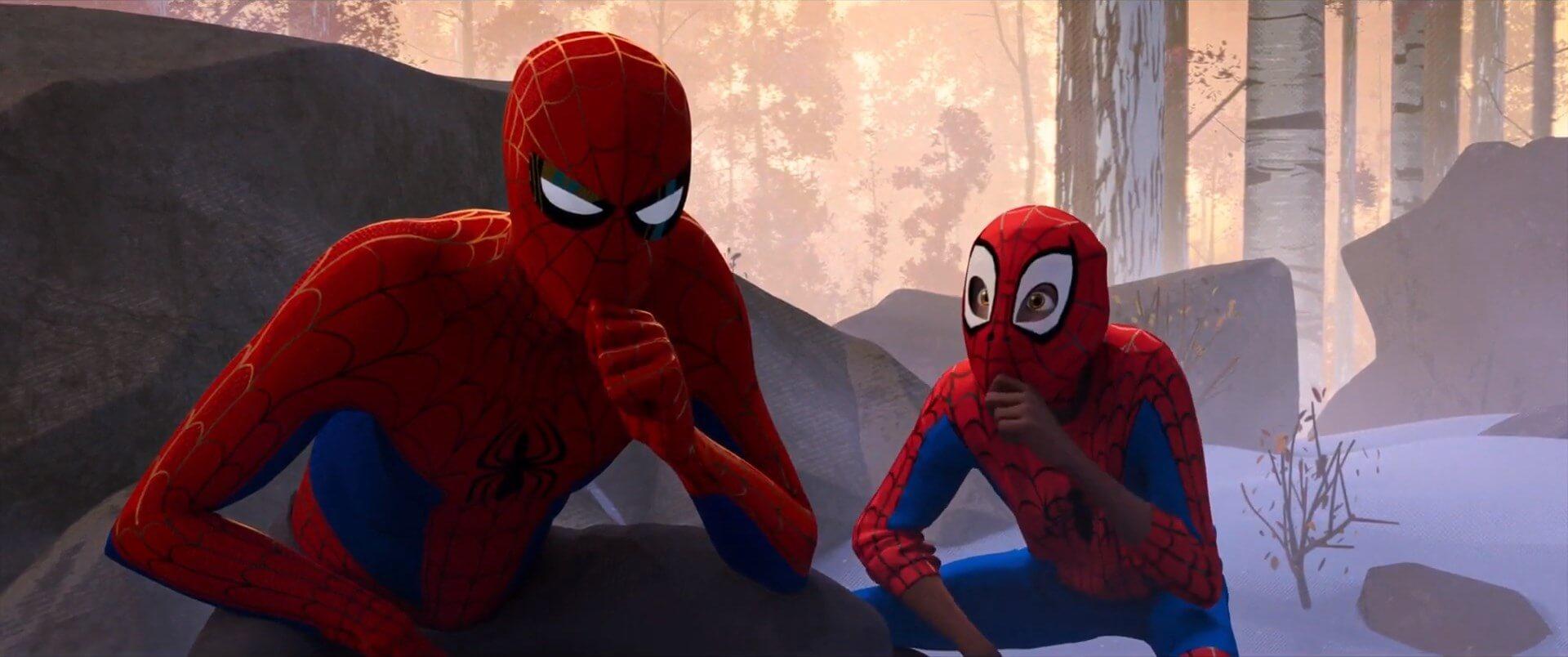 Ir a la pagina de la plantilla Miles Morales pensando junto a Peter Parker.
