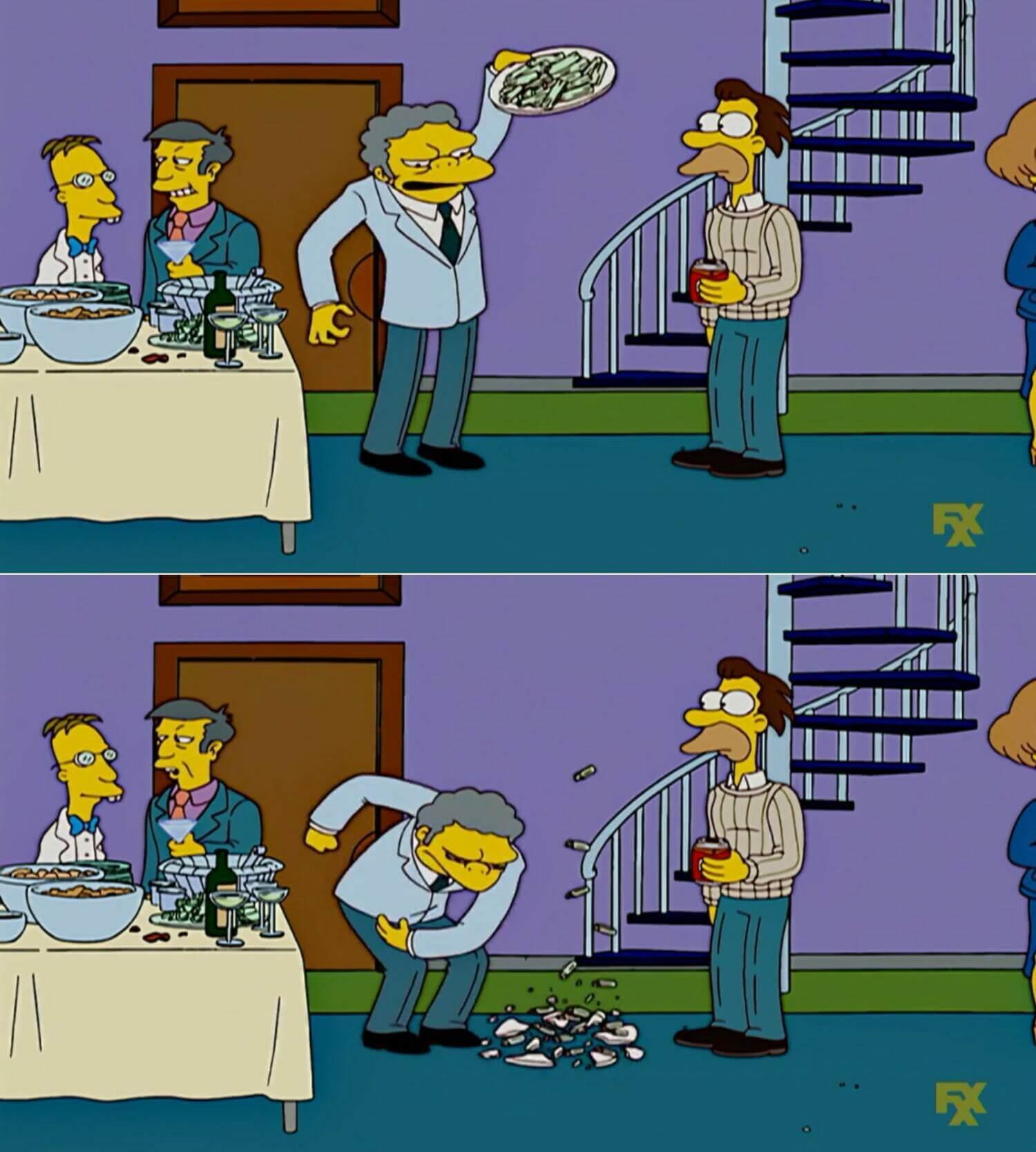 Plantilla de Moe tirando un plato al piso | La concha de su madre