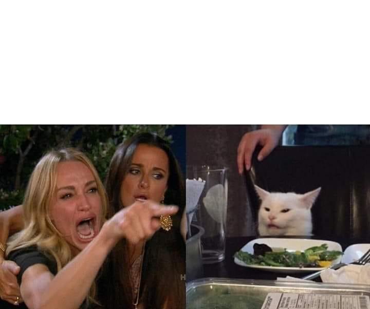 Plantilla de Mujer gritando | Gato en la mesa