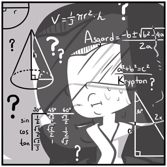 Plantilla de Mujer pensando con ecuaciones alrededor