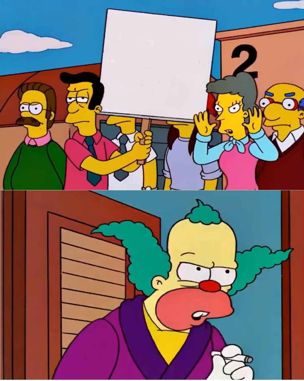 Ir a la pagina de la plantilla Padres protestando | Krusty diciendo que no.