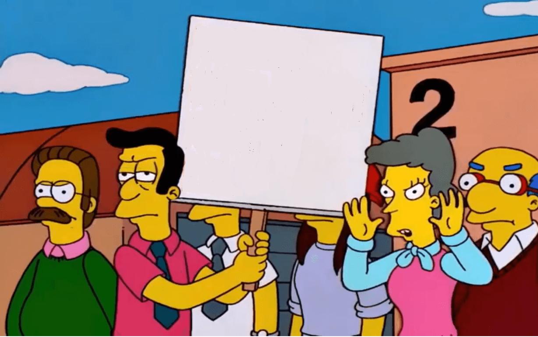 Plantilla de Padres protestando | Krusty diciendo que no