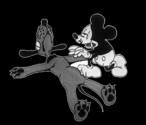 Plantilla de Pluto muerto y Mickey Mouse llorando