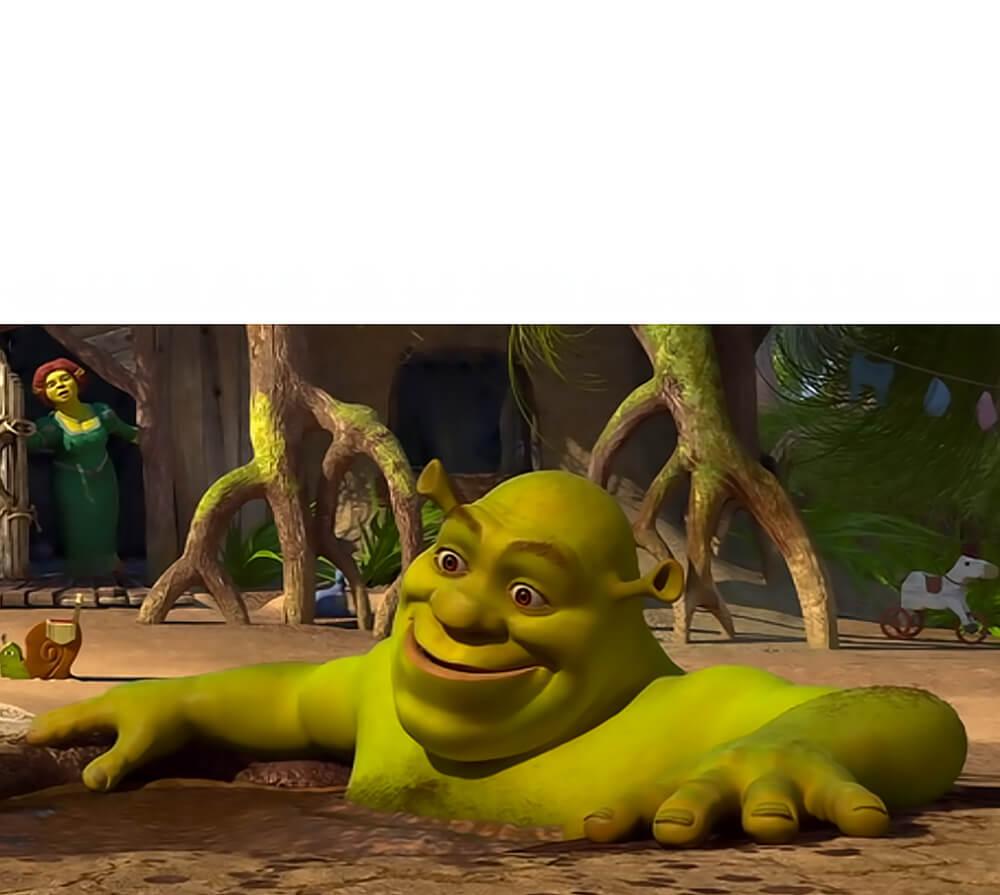 Ir a la pagina de la plantilla Shrek sorprendido en su pantano.
