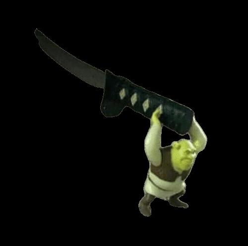 Plantilla de Shrek sosteniendo una espada gigante
