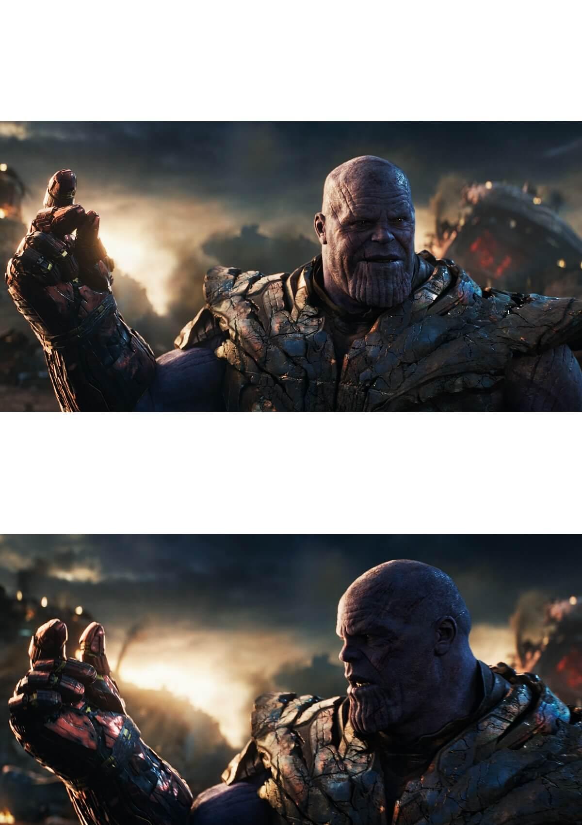 Ir a la pagina de la plantilla Thanos chasqueando los dedos y falla.