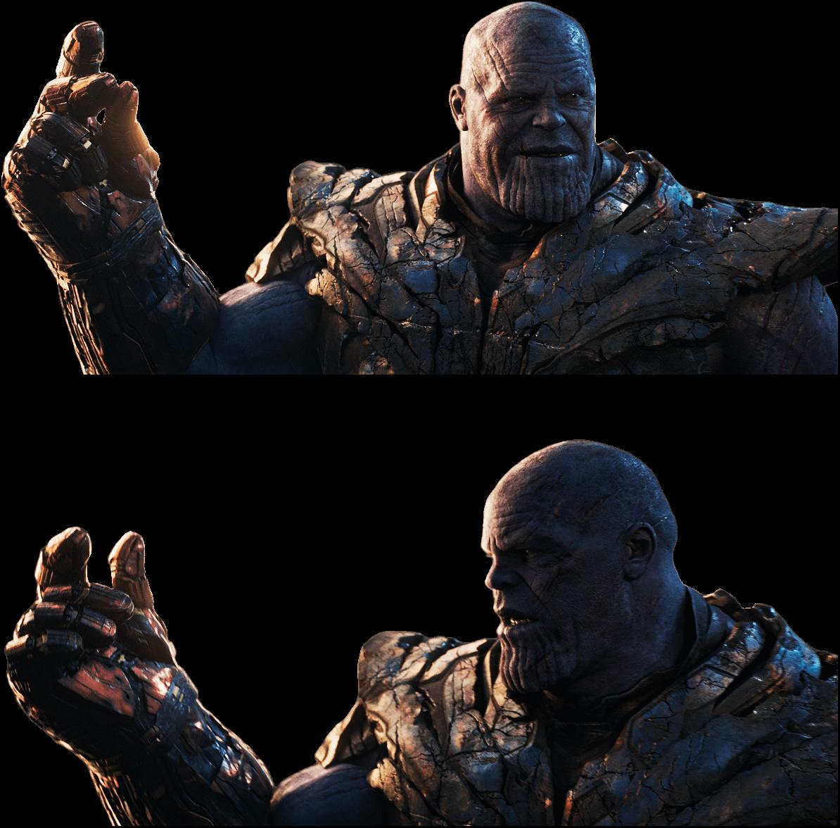 Plantilla de Thanos chasqueando los dedos y falla