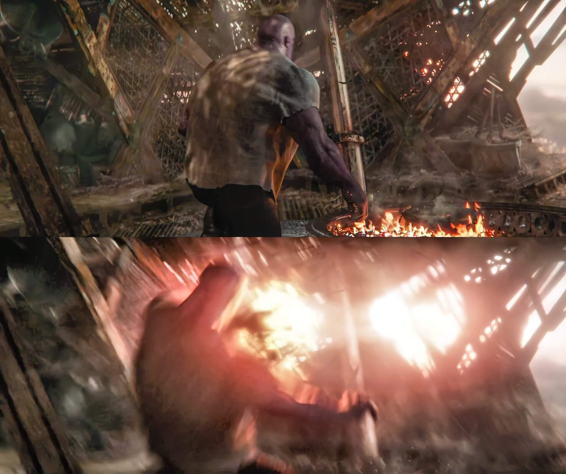 Ir a la pagina de la plantilla Thanos es golpeado por Capitana Marvel.