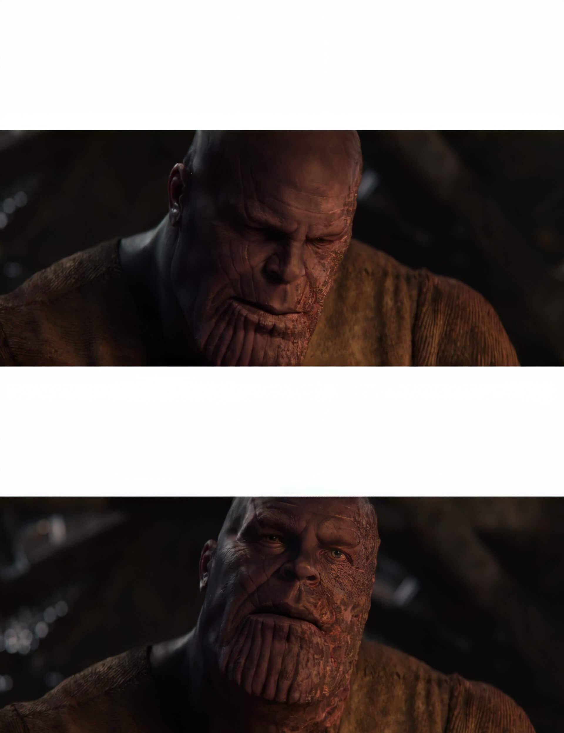 Ir a la pagina de la plantilla Thanos levanta la mirada.