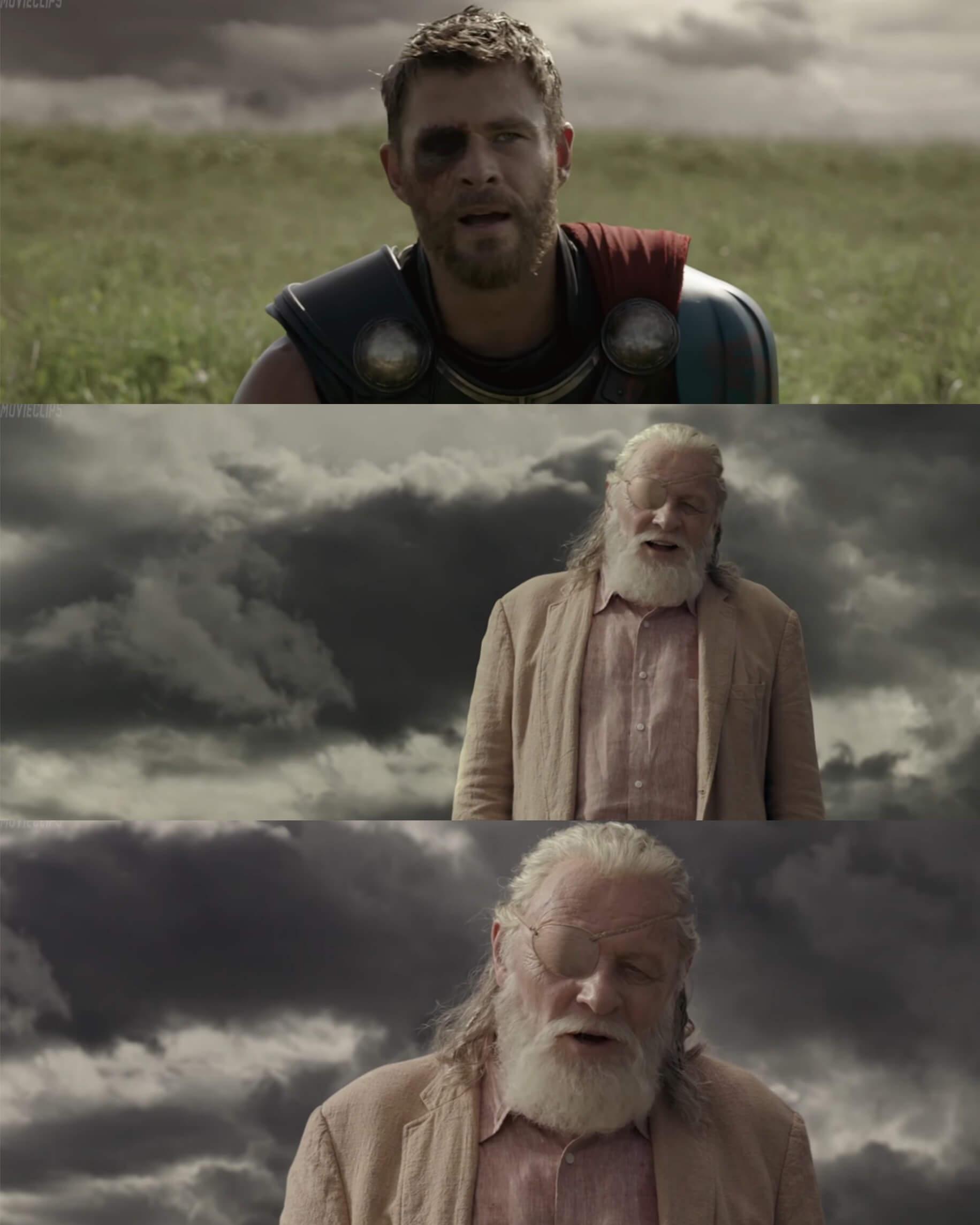 Ir a la pagina de la plantilla Thor le dice a Odin que necesita su martillo.