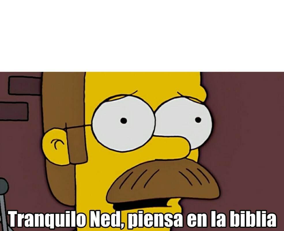 Ir a la pagina de la plantilla Tranquilo Ned, piensa en la biblia.