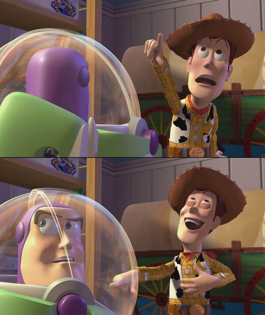 Ir a la pagina de la plantilla Woody burlándose de Buzz.