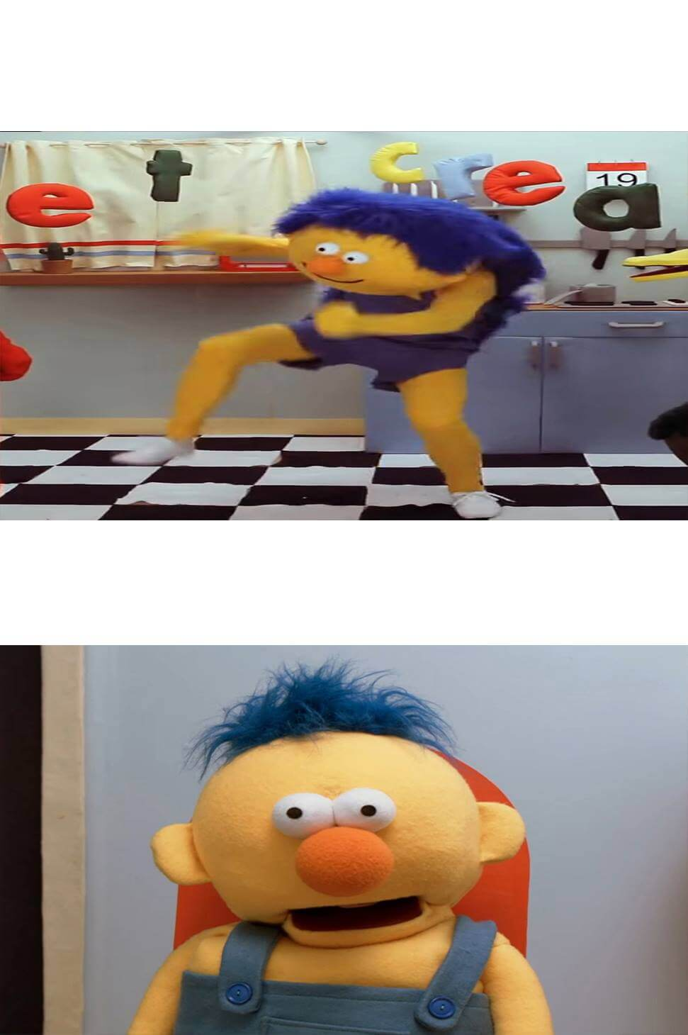 Plantilla de Yellow Guy bailando  Yellow Guy sorprendido
